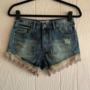 Free People High Rise Jean Shorts With Lace